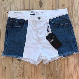 Women's Levi two tone denim shorts